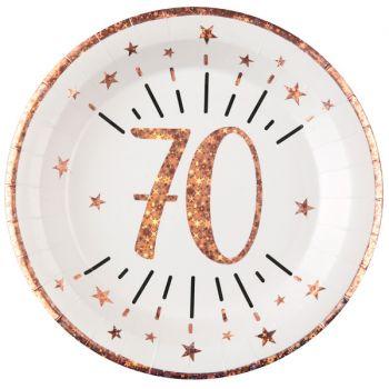10 Assiettes étincellant gold rose 70 ans