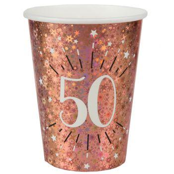 10 Gobelets étincellant gold rose 50 ans