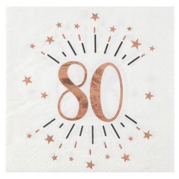 10 Serviettes étincellantes gold rose 80 ans