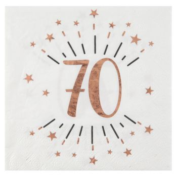 10 Serviettes étincellantes gold rose 70 ans