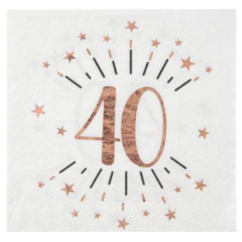 10 Serviettes étincellantes gold rose40 ans