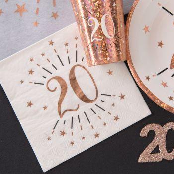 10 Serviettes étincellantes gold rose 20 ans