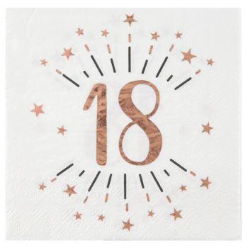 10 Serviettes étincellantes gold rose 18 ans