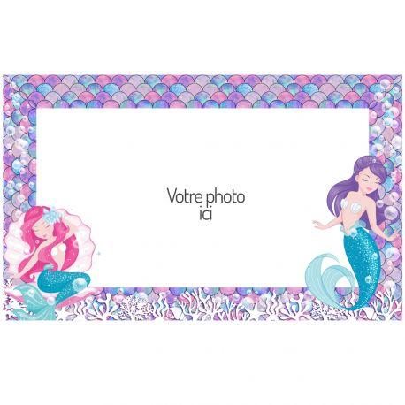 Feuille de sucre Sirènesà personnaliser avec vos photos personnels pour décorer vos gâteaux d'anniversaires. Taille A3 USA ( 25.8 cm x...
