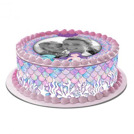 Kit décor en sucre EasycakeSirène personnalisépour réaliser un gâteau rond en 1 clin d'oeil !Prévu pour un gâteau d'un...