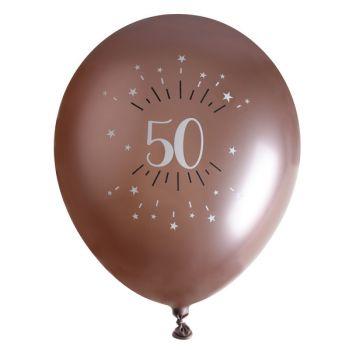 10 Ballons étincellant gold rose 50 ans