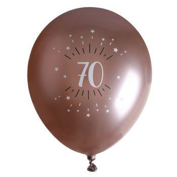 10 Ballons étincellant gold rose 70 ans