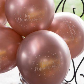 10 Ballons Joyeux anniversaire gold rose