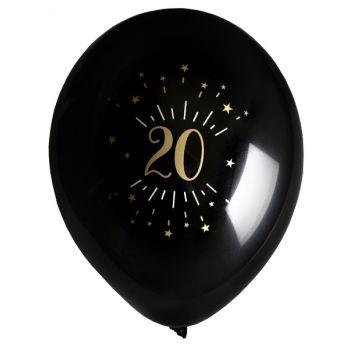 6 Ballons étincellant noir or 20 ans