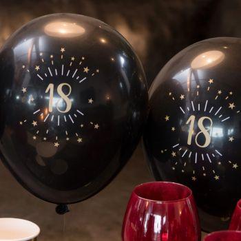6 Ballons étincellant noir or 18 ans