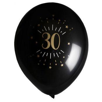 6 Ballons étincellant noir or 30 ans