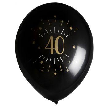 6 Ballons étincellant noir or 40 ans