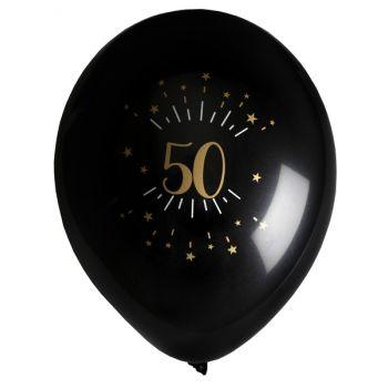 6 Ballons étincellant noir or 50 ans
