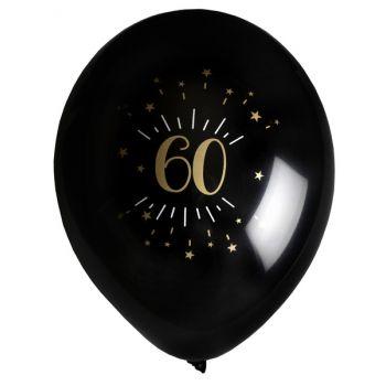 6 Ballons étincellant noir or 60 ans