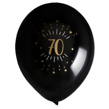6 Ballons étincellant noir or 70 ans