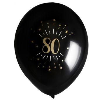 6 Ballons étincellant noir or 80 ans