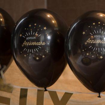 6 Ballons Joyeux anniversaire étincelant noir or