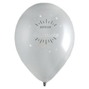 6 Ballons Joyeux anniversaire étincelant argent