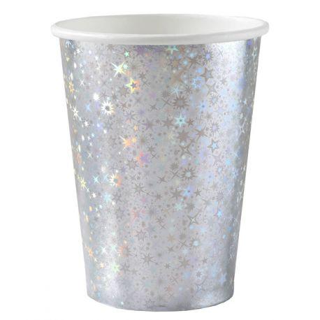 10 Gobelets Anniversaire argent holographique pour la deco de votre fête d'anniversaire.Dimensions : Ø 7.8 x 9.7 cmMatière: Carton