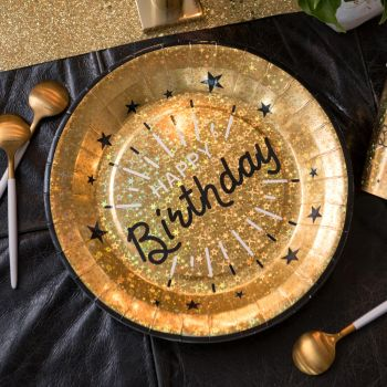 10 Assiettes Happy Birthday Etincelant or