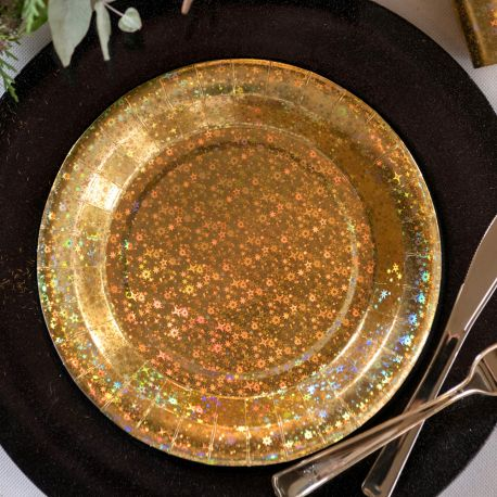10 Assiettes en carton holographique Étincelant or pour la décoration de votre table d' anniversaire.Dimensions : 22.5 cm