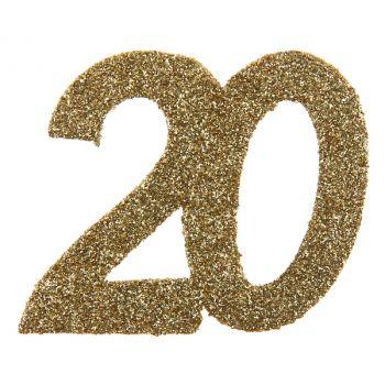 6 Confettis géant or pailleté 20 ans