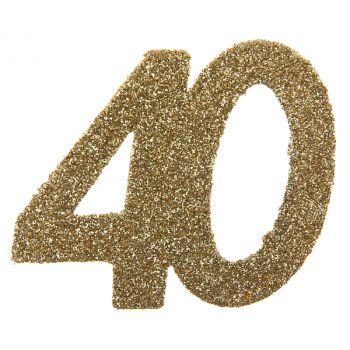 6 Confettis géant or pailleté 40 ans