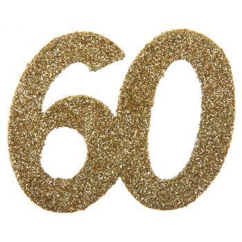 6 Confettis géant or pailleté 60 ans
