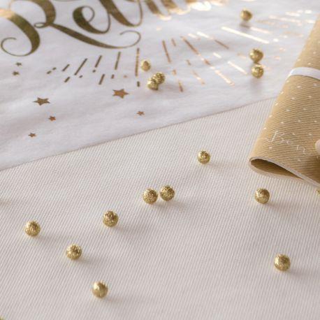 Sachet de 50 mini boules en polystyrène pailletés avec sequins or à parsemer sur vos tables de fêtesØ 1 cm