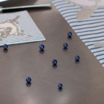 50 Mini boules pailletés sequins bleu nuit