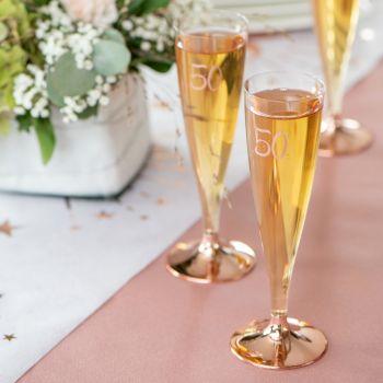 6 Flûtes en plastique pieds gold rose chromé 50 ans