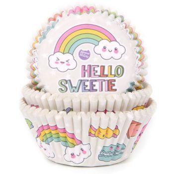 50 Caissettes cupcakes Rainbow