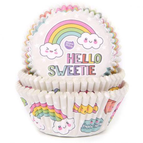 Boite de 50 Caissettes à cupcakes ou muffins, elles sont adaptées à la cuisson, à utiliser avec moule 12 muffins/cupcakesDécor...