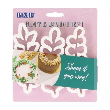 Assortiment de 3 emporte pièces en forme de feuillage d'Eucalyptus pour réaliser de belles décoration de gâteaux...