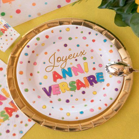 10 assiettes en carton multicolore et or Joyeux Anniversaire pour une belle table de fête !Dimensions: Ø22.5cm