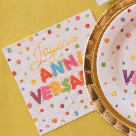 10 serviettes en papier multicolore et or Joyeux Anniversaire pour une belle table de fête!Dimensions: 16.5 x 16.5cm / 33 x 33cm