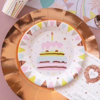 10 Assiettes carton Joyeux Anniversaire 1 an