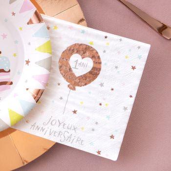 20 Serviettes en papier Joyeux Anniversaire 1 an