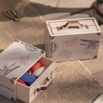 2 boites mini valise en bois Bon voyage