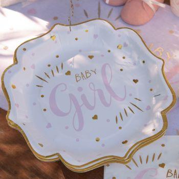 10 Assiettes carton Baby Girl gold