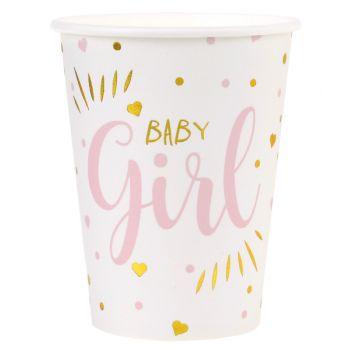10 Gobelets carton Baby Girl gold