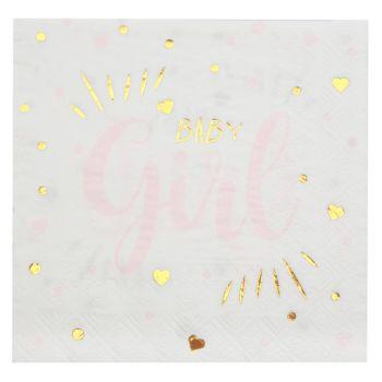 20 Serviettes en papier Baby Girl gold