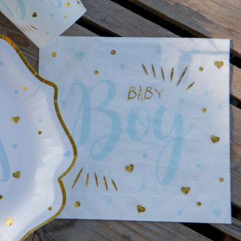 20 Serviettes en papier Baby Boy gold