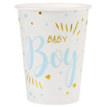 10 Gobelets carton Baby Boy gold