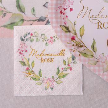 20 petites serviettes Melle Rose végétal