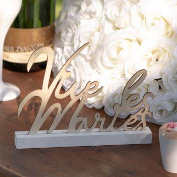 Décor de table Vive les mariés blanc
