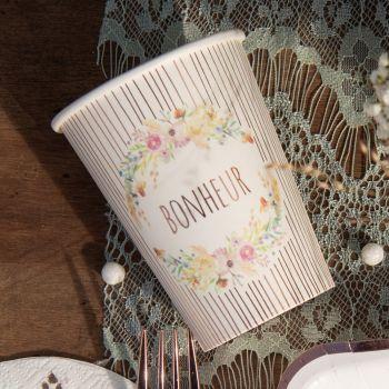 10 Gobelets bonheur bucolique fleuri