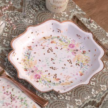 10 assiettes bucolique fleuri