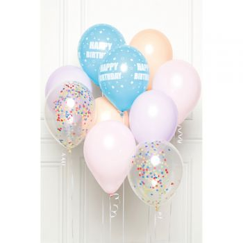 Bouquet 10 ballons Happy Birthday pastel