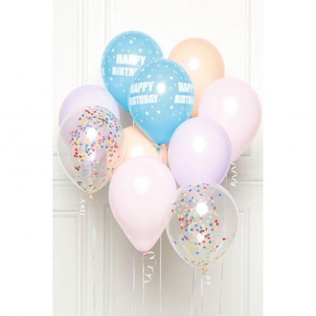 Bouquet de 10 ballons latex de couleur assortis pastel avec inscription Happy birthday sur les bleuDimension des ballons Ø30cmLivré...